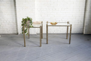 mid century modern brass bamboo coffee side tables mcm