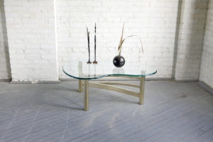 mid century modern glass and chrome hollywood regency kidney bean coffee table mcm