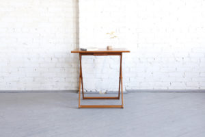 mid century modern foldable x side table made in Denmark