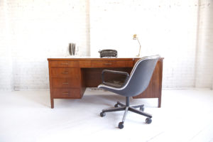 mid century modern 70s executive desk with caning mcm