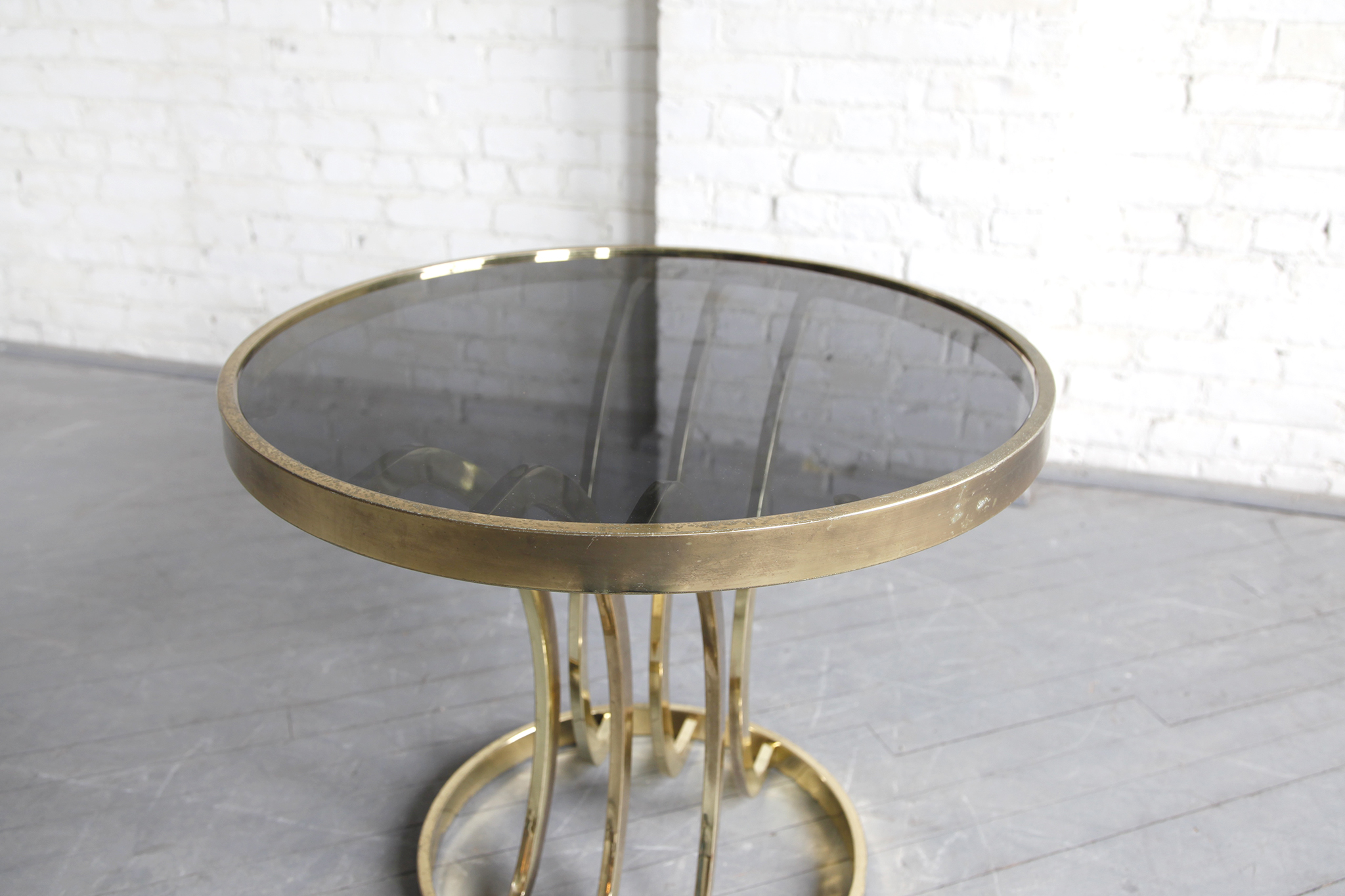 sold mid century modern hollywood regency round brass and glass