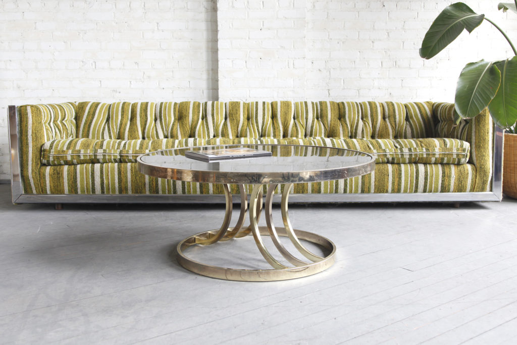 Mid century modern Hollywood regency round brass and glass coffee table