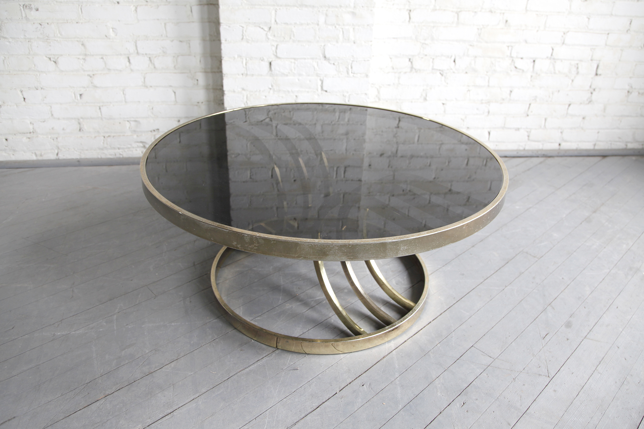 SOLD Mid century modern Hollywood regency round brass & glass