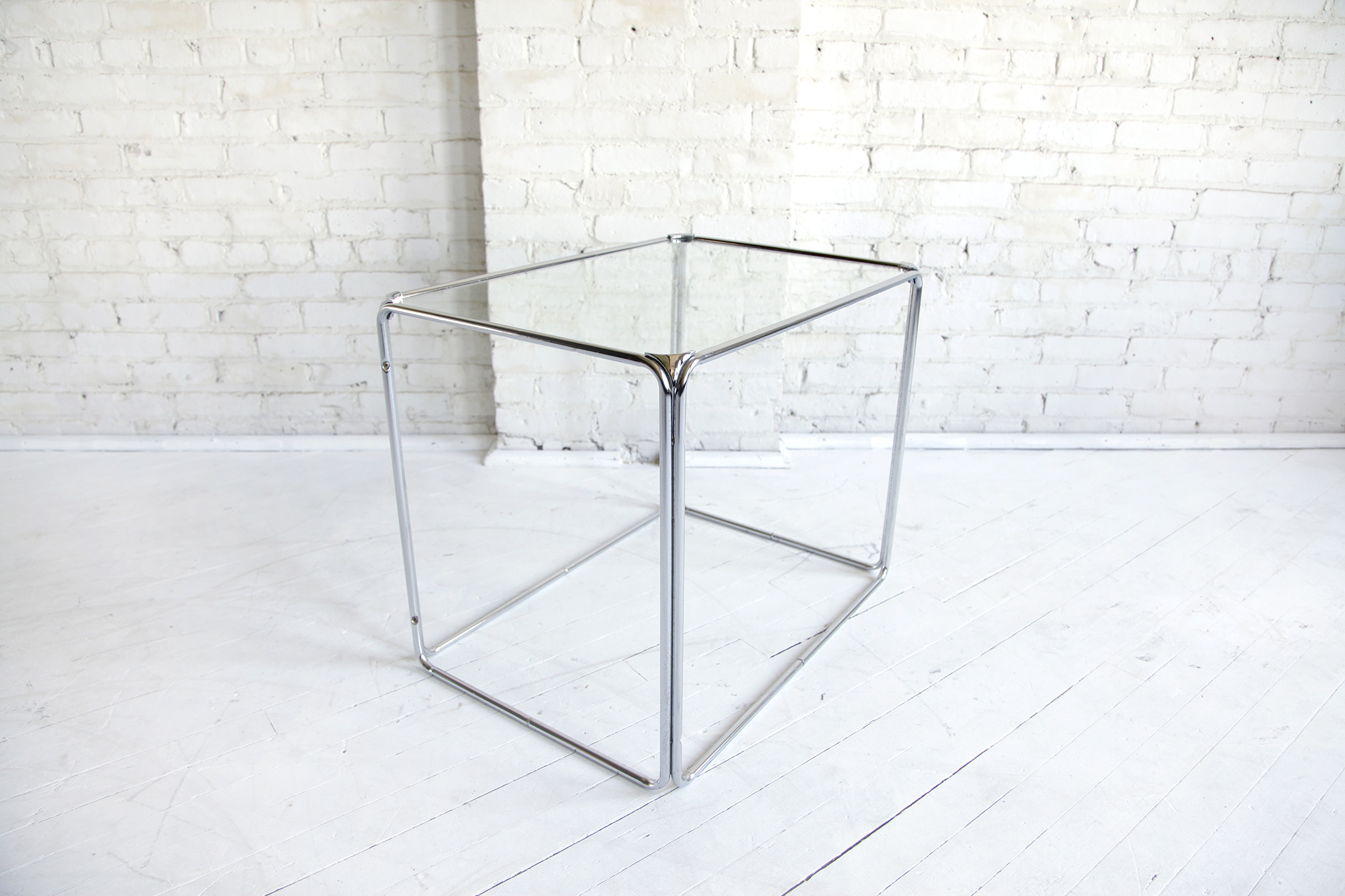 Midcentury modern chrome & glass coffee side table – MCMBKNY