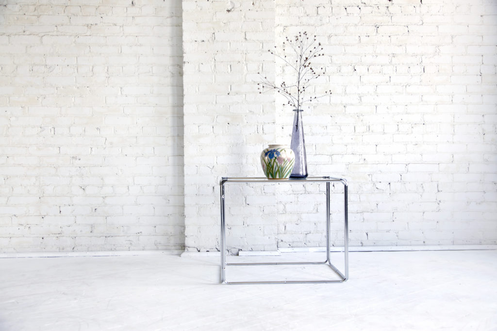 Midcentury modern chrome & glass coffee/side table