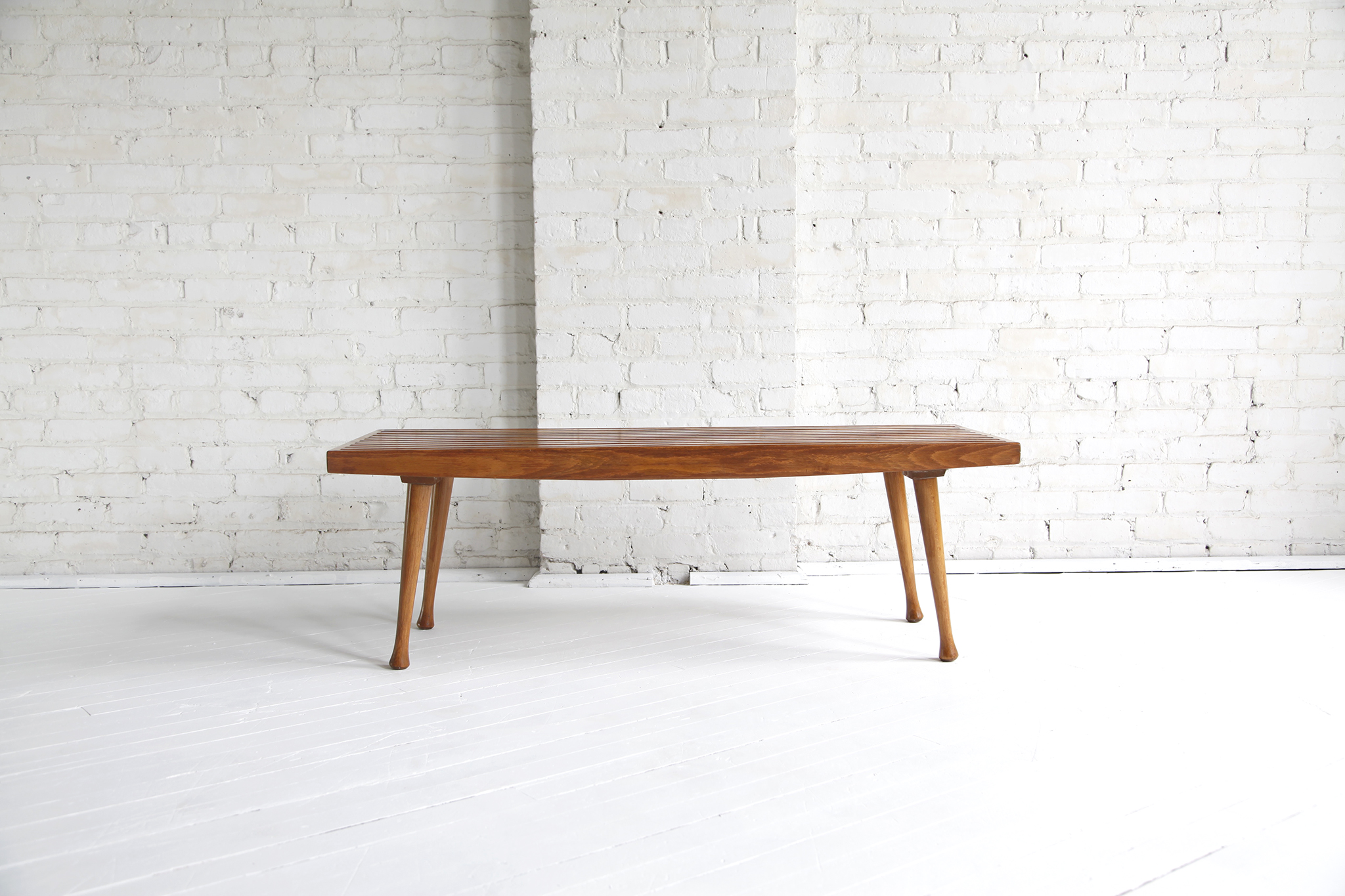 SOLD Mid century modern slat bench coffee table – MCMBKNY