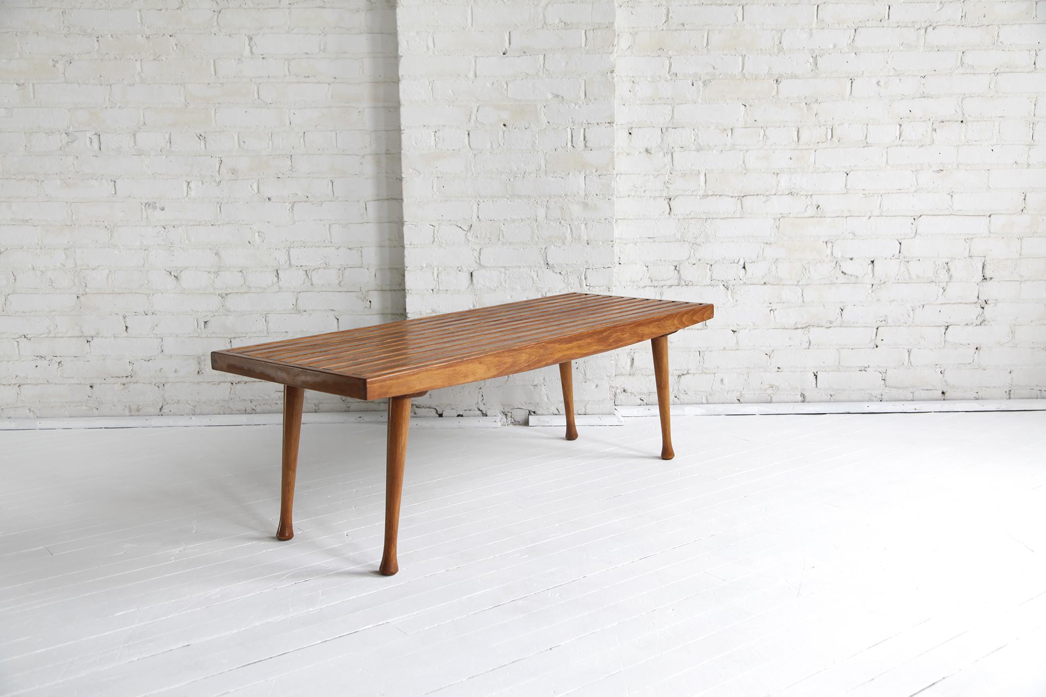 Sold Mid Century Modern Slat Bench Coffee Table Omasa