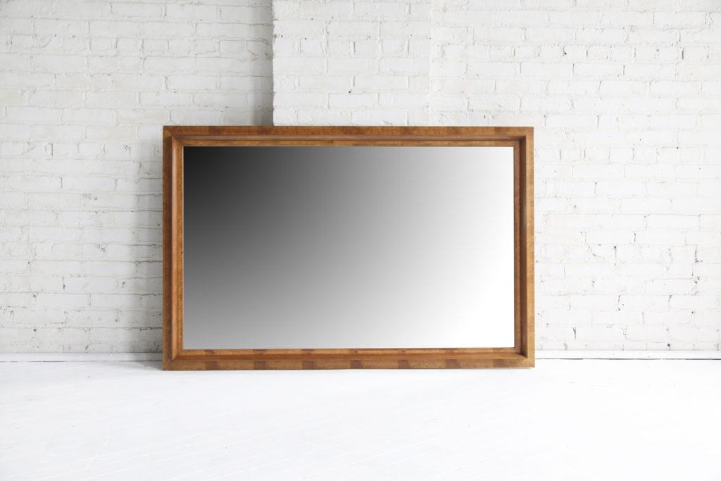 Large Mid Century Burl Wood Mirror by Thomasville