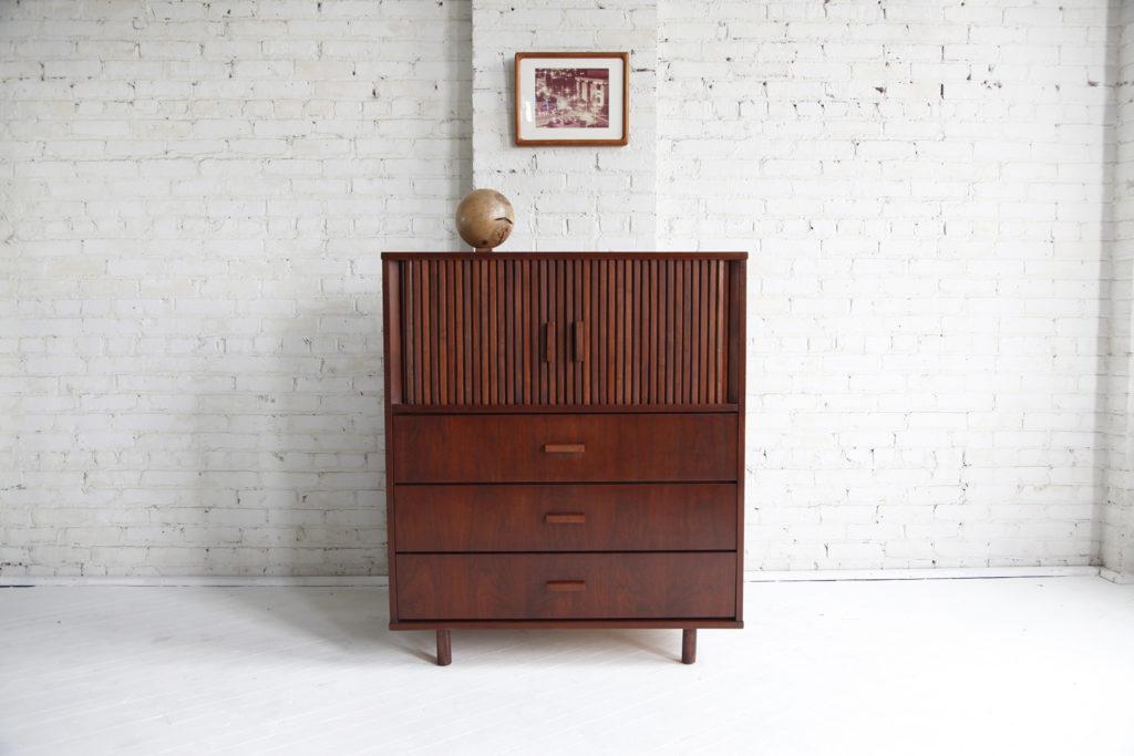 Mid century modern tallboy, tambour door dresser