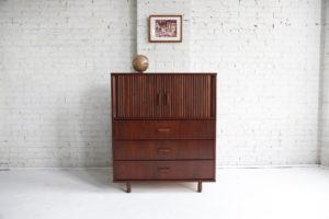 Mid century modern tallboy, tambour door dresser mcm