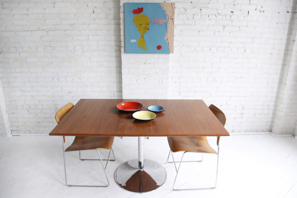 Mid Century modern chrome and teak dining table