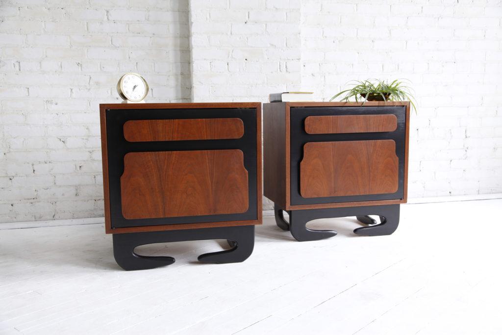 Midcentury modern sculptural nightstands