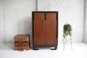 Vintage tallboy dresser with sculptural details made in Canada
