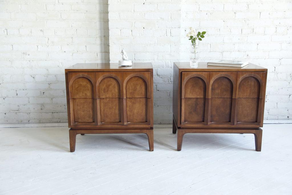 Mid century modern burl wood nightstands