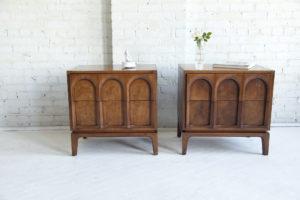 Mid century modern burl wood nightstands Thomasville