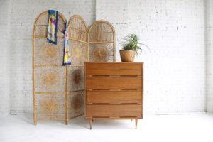 Mid century modern tallboy 4 drawer dresser