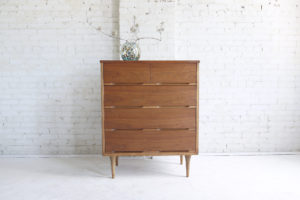 Mid century modern tallboy 4 drawer dresser mcm