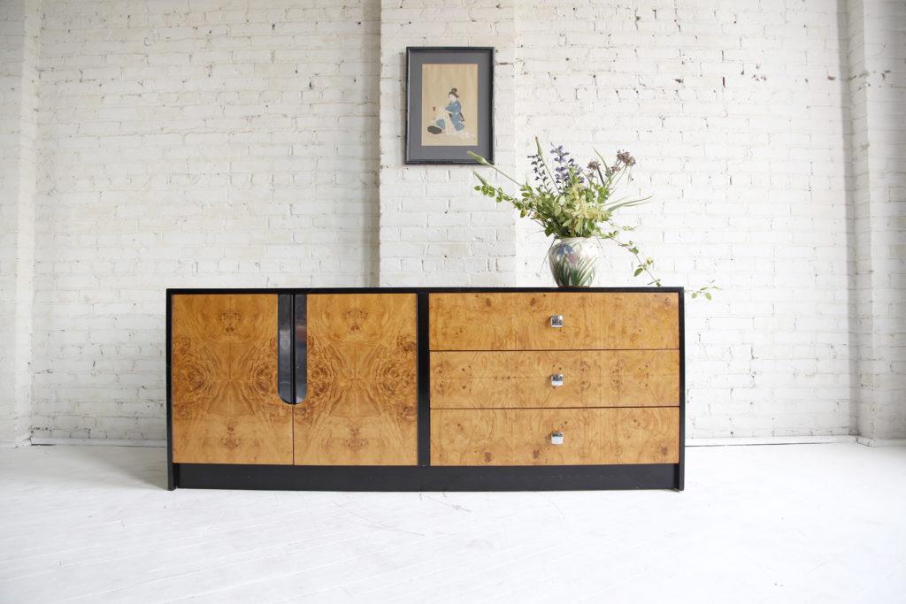Midcentury modern Milo Baughman burl wood credenza