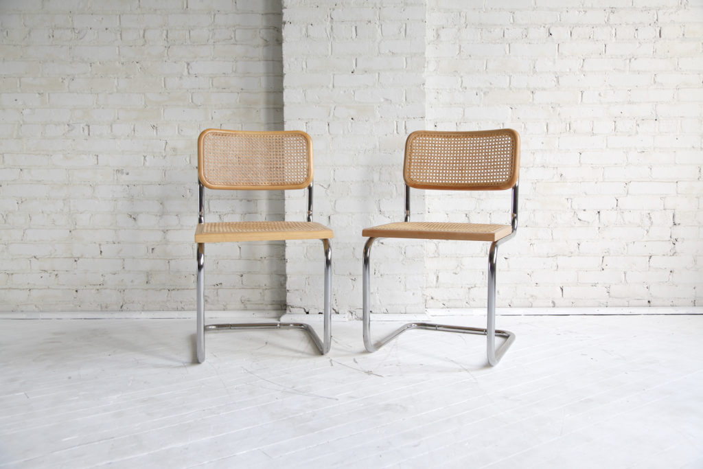 Midcentury modern chairs in style of Marcel Breuer