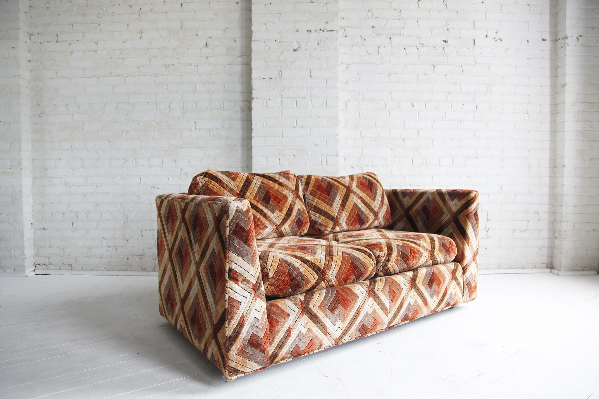 Mid Century Modern Velvet Sofa / Loaves Eat