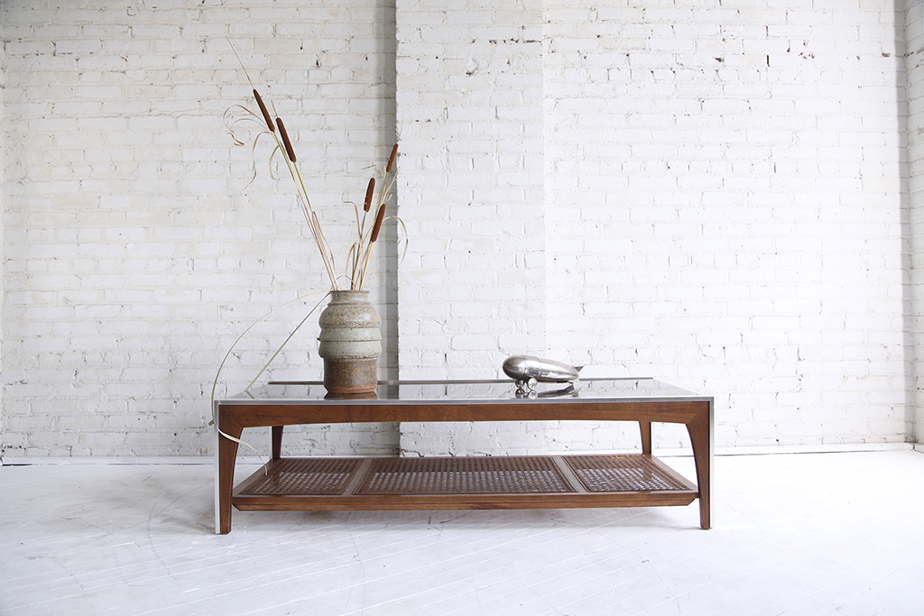 mid century modern chrome and glass coffee table