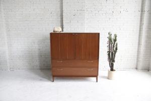 Mid century modern tallboy dresser by Red Lion Furniture mcm