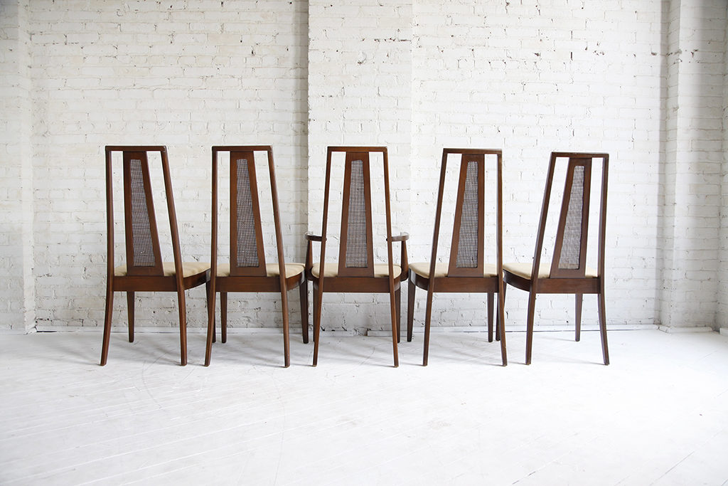 Mid Century Modern Dining Chairs With Caning Set Of 5 Mcmbkny