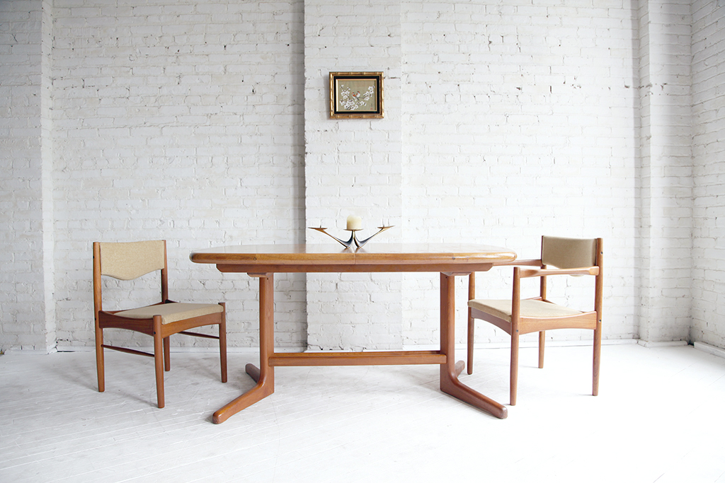 mcmbkny mid century modern teak oval dining table