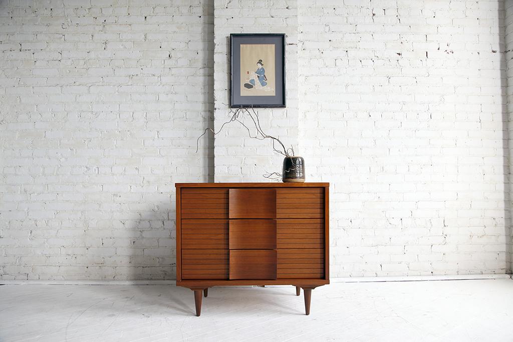 Mid century Modern 3 drawer dresser by H.Bogin and sun inc