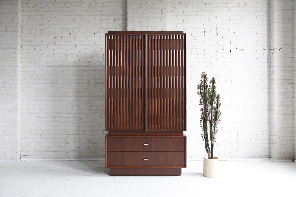 Mid century modern Brutalist made in canada tallboy dresser wardrobe