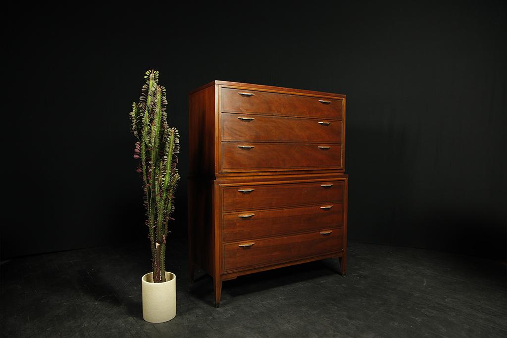 mid century modern tallboy 6 drawer dresser by Kent Coffey mcm