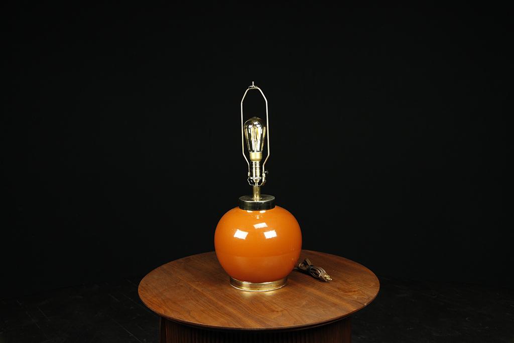 Mid century modern ceramic, orange table lamp