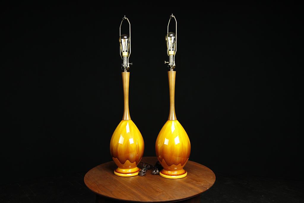 Mid century modern orange drip glaze table lamps