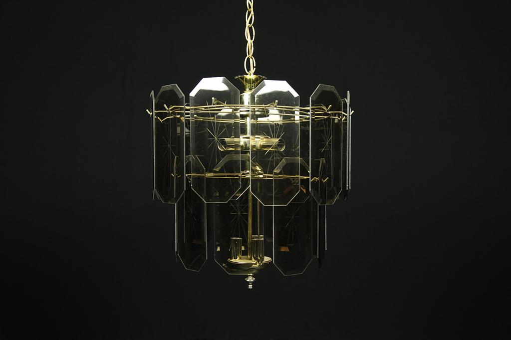 Mid century modern smoky glass chandelier