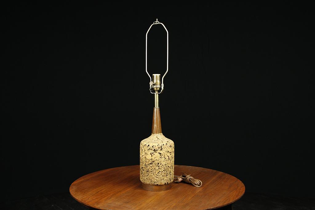 Mid century modern cork table lamp