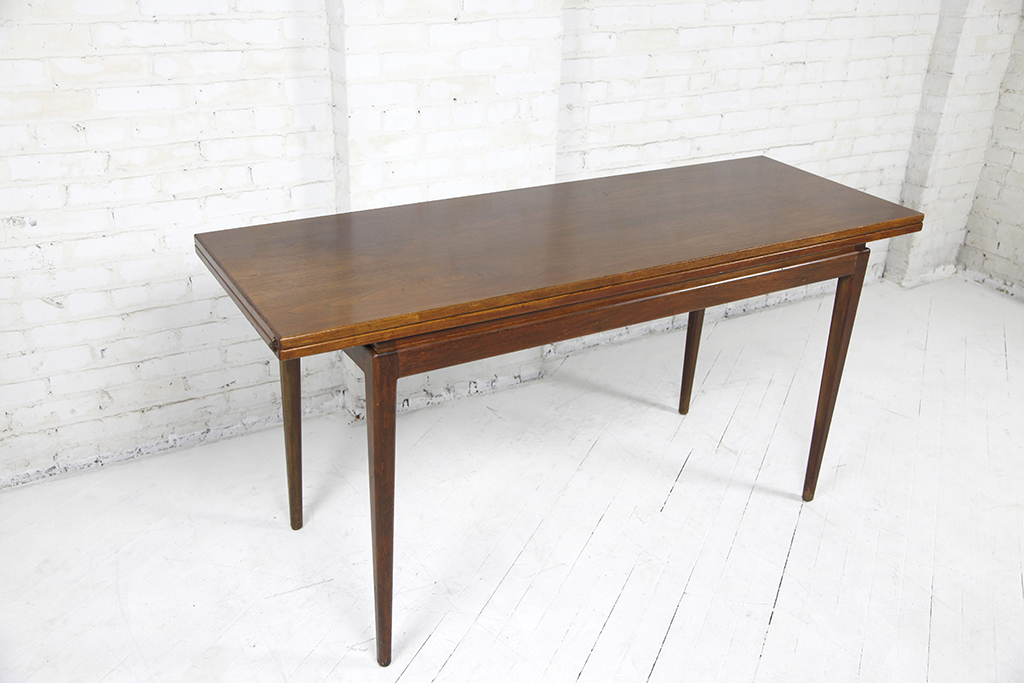 Mid Century Modern Mcm Walnut Dining Table Folding Top For Sale Near  Brooklyn Ny