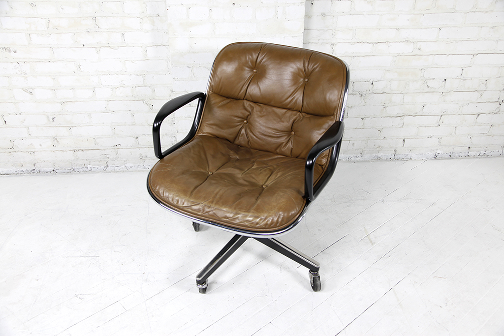 Charles Pollock Brown Leather Office Chair By Knoll Omasa Projects