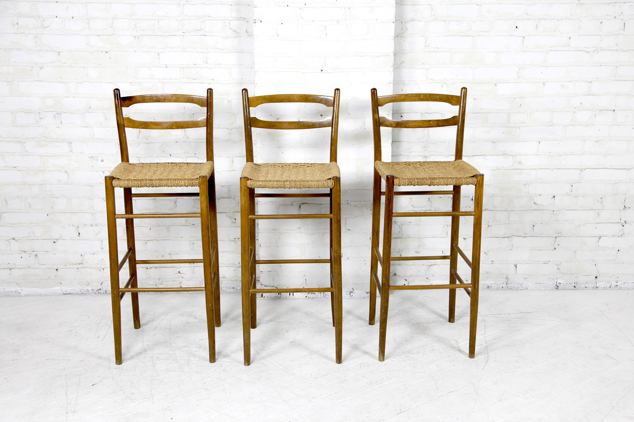 Outstanding Vintage Mid Century Modern Cord Seat Bar Stools Omasa Projects Dailytribune Chair Design For Home Dailytribuneorg