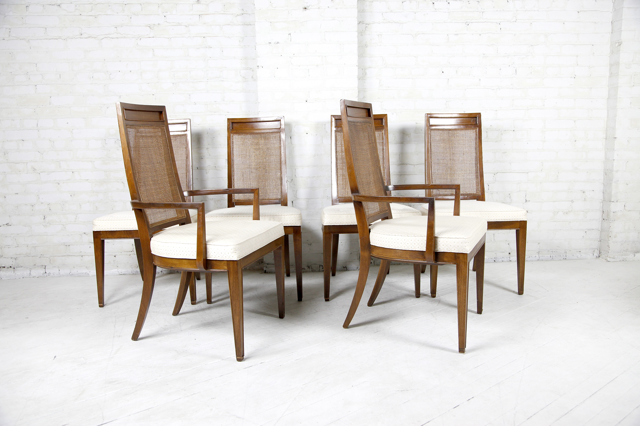 Set Of 6 Dining Chairs With Caning Tall Back Omasa Projects